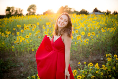 Dexter High School senior with gorgeous sunrise