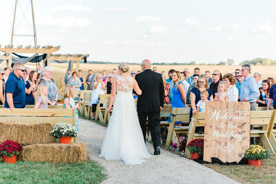 wedding ceremony at the rustic barn venue Iowa