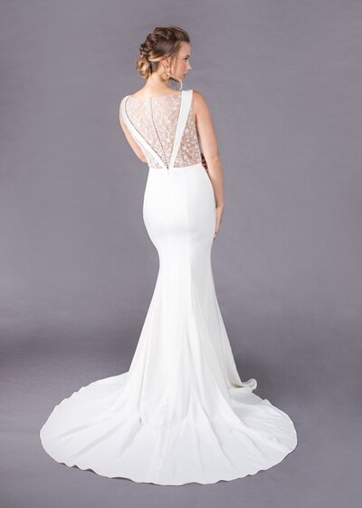 Back view of the Jane style with its beaded illusion back