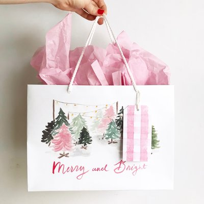 pink merry and bright christmas trees gift bag the illustrated life