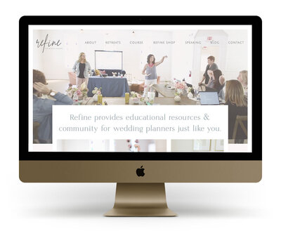 Custom Showit Website Design Mock Up for Refine for Wedding Planners, an educational platform for wedding planners