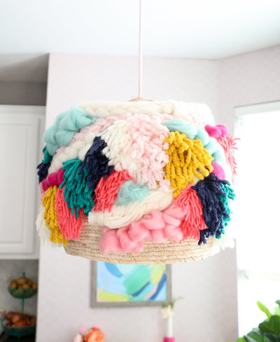 DIY Faux Woven Yarn Pendant Light Fixture-11