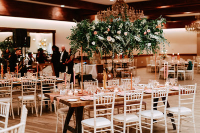 Wedding reception with a unique table centerpiece