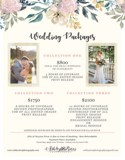 WEDDING Pricing Sheet-revised