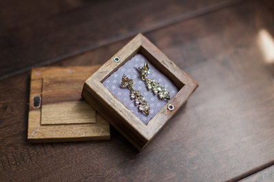 earrings for bride in a box