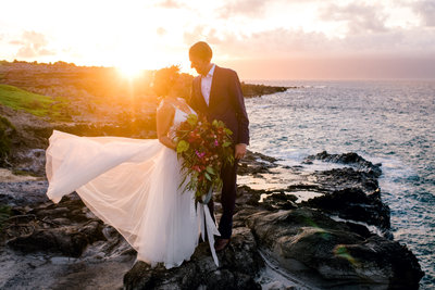 Sunlit wedding on the cliffs of Kapalua Maui by Maui's best photographers