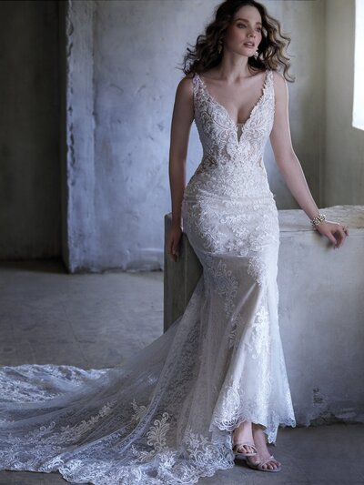 Vintage Sheath Wedding Dress. Sometimes a little shimmer + a little texture is all you need in a vintage-inspired sheath wedding dress.