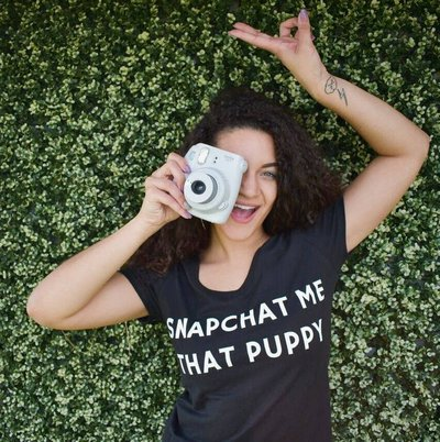 Snapchat me the puppy tee tshirt for women from the brunchin pup