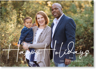 Signature script holiday photo card