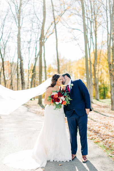 Bride and groom portraits at Fall Wedding at Lindley Farmstead