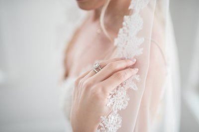 close up of bride's wedding rings