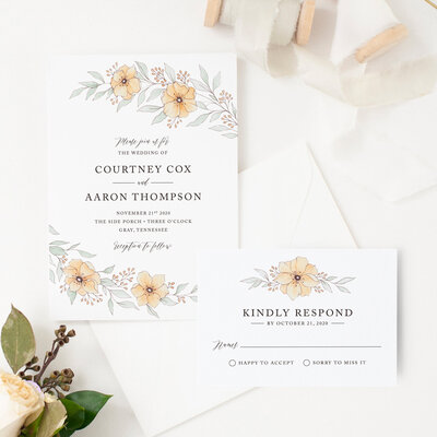 watercolor wedding invitation with orange flowers