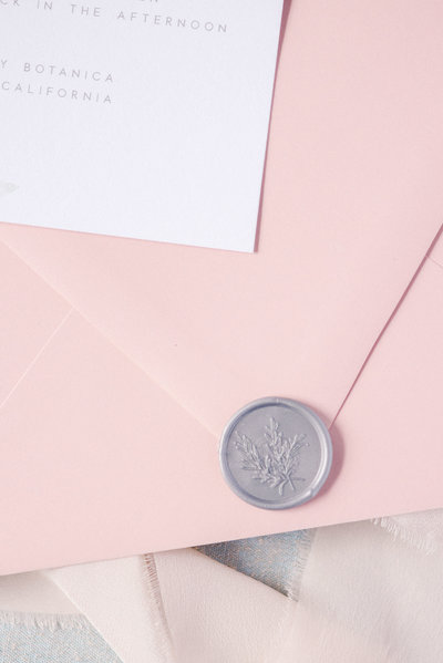 Pink-Wedding-Envelope-Grey-Wax-Seal