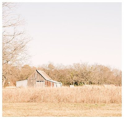 Old wooden barn in a Texas field