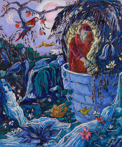 Oil painting of lovers in a passionate embrace, Romeo and Juliet, in a nocturnal jungle garden of love and also danger, Naïve style.