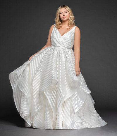 Hayley Paige plus size bridal gown - Ivory striped organza ball gown, draped ballerina bodice with curved V-neckline, full cascading skirt.