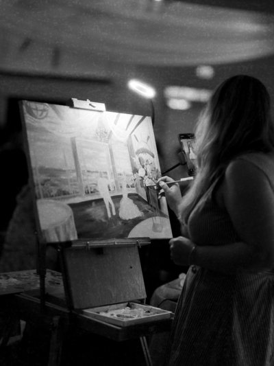 Chesapeake Bay Beach Club Live Wedding Painting Photographed by Manda Weaver Photography
