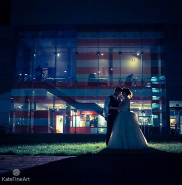 Bride and Groom get a second photoshoot after sun goes down.