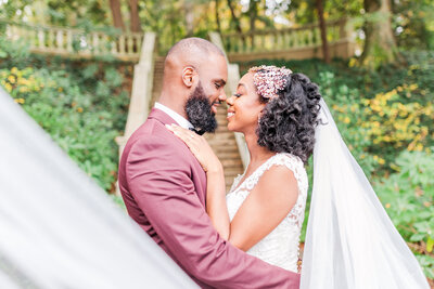 Photo of a couple at Cator Woolford Gardens by Jennifer Marie Studios, Atlanta's best wedding photographer.
