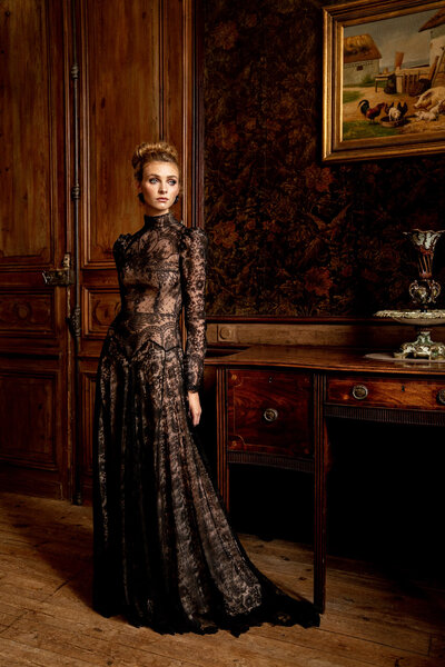 Black Chantilly Lace Evening Dress - JoanneFlemingDesign - AlexHPhoto (45)