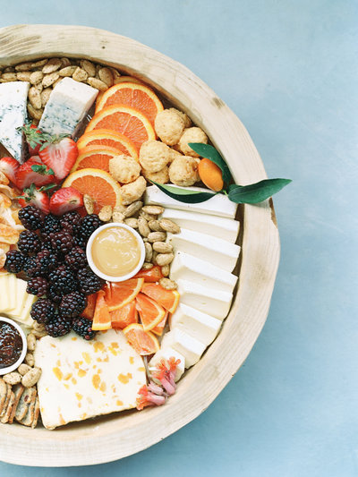 food flatlays of charcuterie board