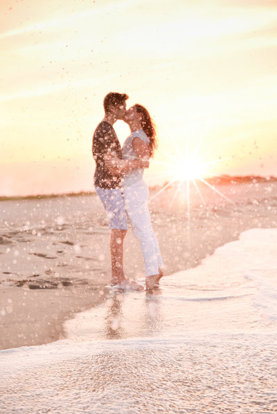 sunset engagement photo at a new jersey beach