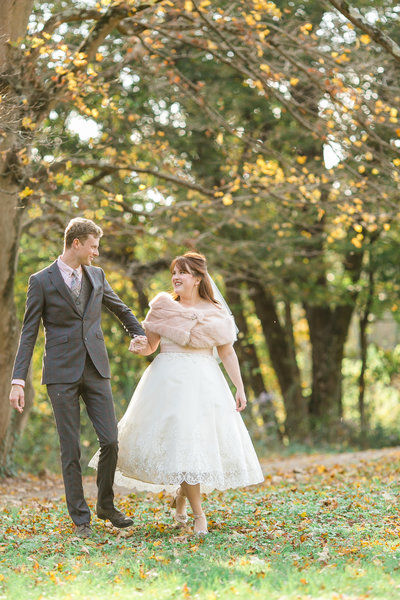 couple-vintage-bride-tea-length-dress-blush