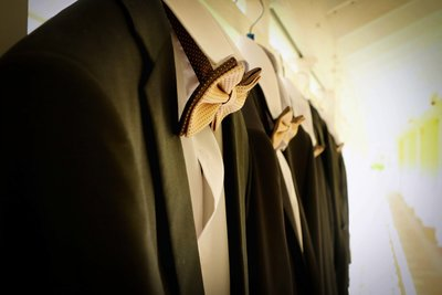 Groom's suit on hanger. Photo by Ross Photography, Trinidad, W.I..