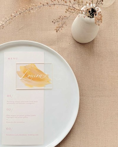 minimal and modern menu and acrylic place cards by Dominique Alba