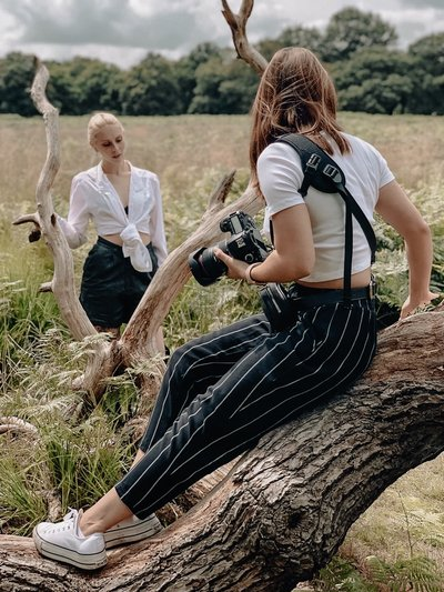 A behind the scenes shot of me on a photoshoot in Richmond Park