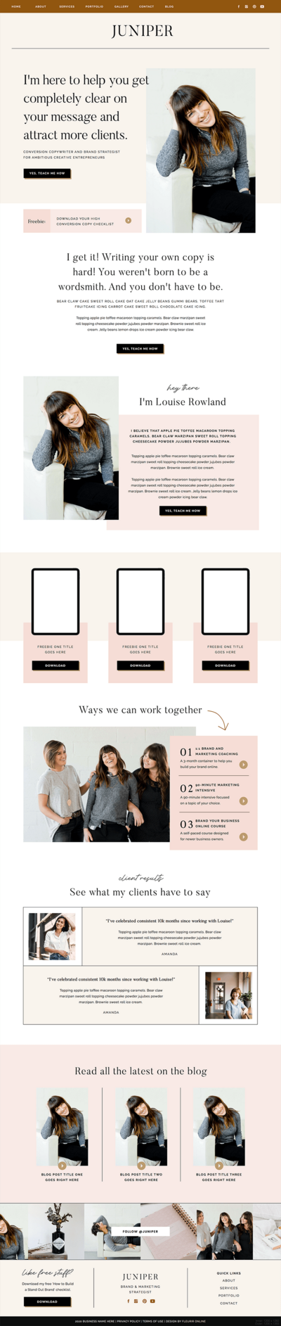 Juniper Showit website template for coaches, creatives and photographers