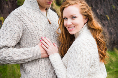 Engagement Portrait of a girl with red hair and aran sweater