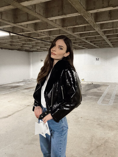whatverowears patent leather jacket revolve