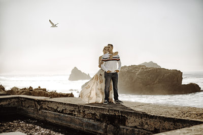 Engagement photoshoot at Sutro Bath after San Francisco City Hall.