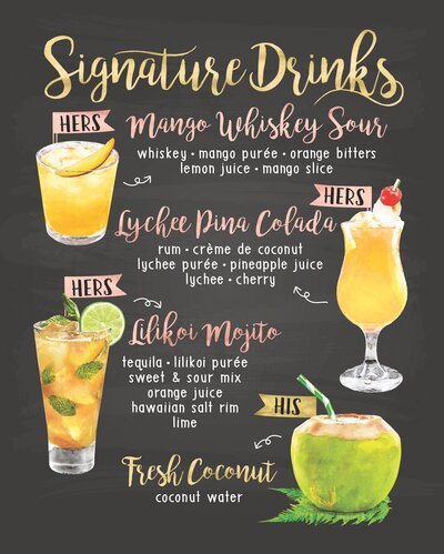 StarBarHawaii-Signature Drink Menu - Lucy Fang