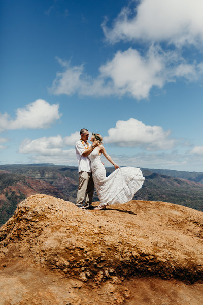 bride & groom standing on top of mountain