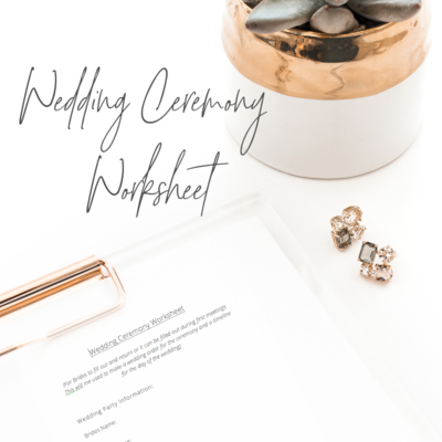 wedding ceremony worksheet