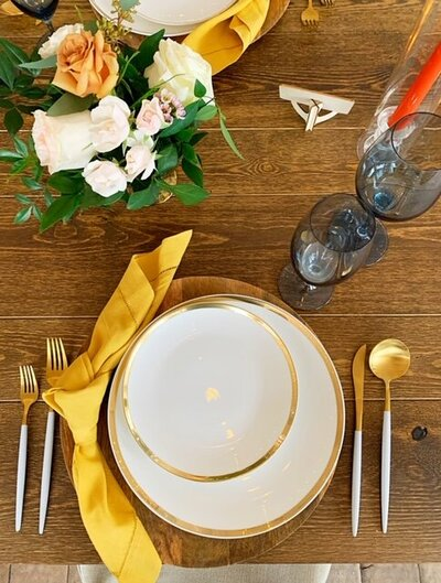 Trendy set up for open house with  unique utensils and florals
