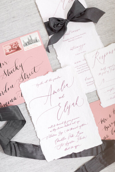 moody valentine wedding invitation mauve and marble wax seal menu deckled torn edge 14