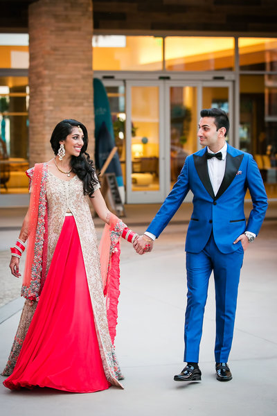 indian bride groom walking huntington beach pasea hotel wedding
