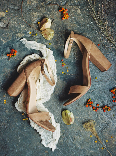 Bridal block heels with a tan suede fabric