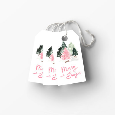 pink christmas trees gift tag low res