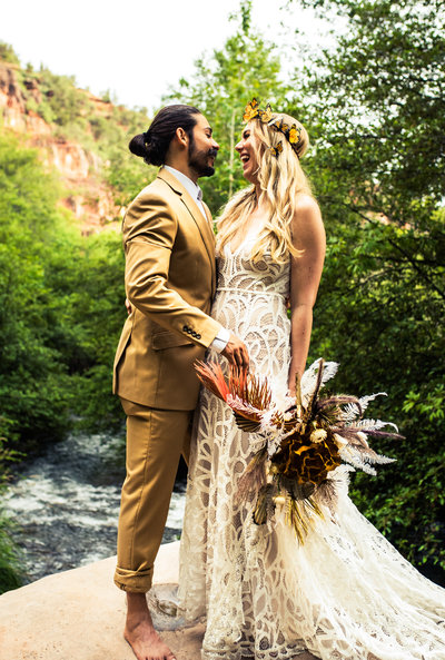 Couple after eloping in Sedona, Arizona on Oak Creek Canyon