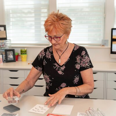 Jane Shine making cards