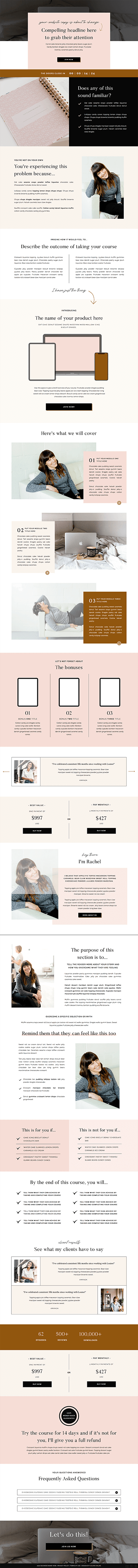 Juniper Showit sales page templates for coaches, creatives and photographers