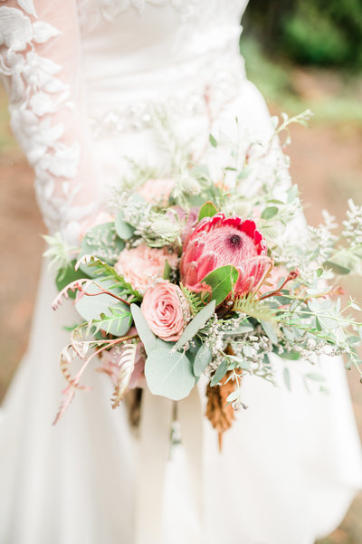 Bridal bouquet with proteas for elopement