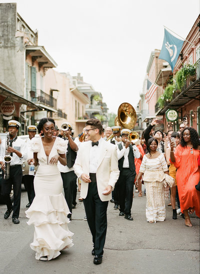 new orleans second line wedding with African bride