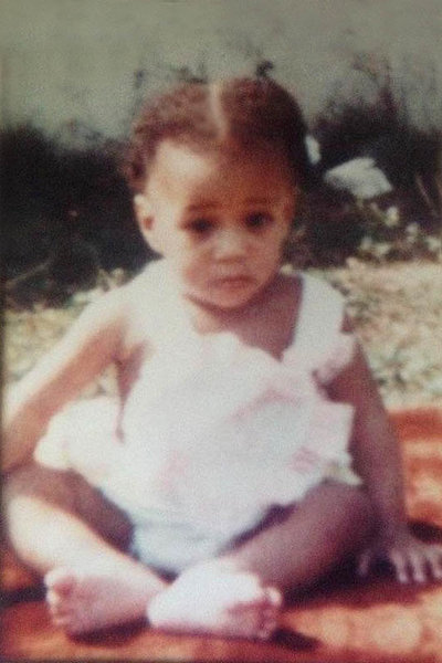 Karie Williams as a baby in Jamaica.