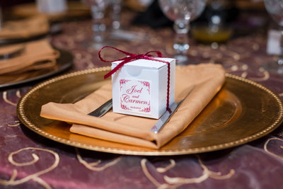 Wedding Favor Box on a Gold Plate