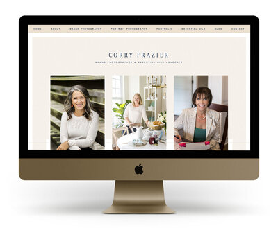 Showit Website Design Mock Up for Corry Frazier, a North Carolina branding photographer